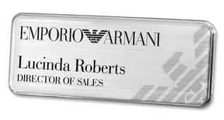 Metal Name Badges - Silver border and brushed silver background | www.namebadgesinternational.ca